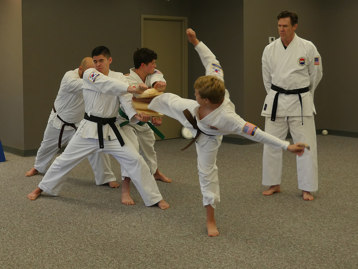 Overland Park Karate Kids Side Kick Board Break